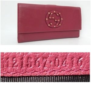 Authentic Gucci Soho Stud Leather Wallet Clutch